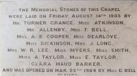 In April 1906, Mr. George Illingworth supplied a Sicilian marble tablet, lettered and fixed for the sum of £6. This records the details of the stone-laying ceremony. - click for full size image