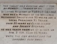 The second is a Memorial to Turner Grange. He was a Local Preacher for 73 years and died in 1911 at the great age of 96. - click for full size image