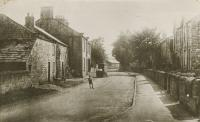 Church Street, Hampsthwaite looking south from the position of the church gate. The vehicle is believed to be a horse drawn milk cart. Possibly taken in 1912 - click for full size image