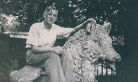 Maurice Wray aged 14 sitting on the Boar Statue in Ripley, North Yorkshire. The photo was taken during a  holiday which he spent camping with a friend at Sissy and John Foster's farm on Rowden Lane Hampsthwaite. - click for full size image