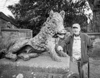 Maurice Wray aged 78 (2012) at the Boar Statue in Ripley, North Yorkshire. - click for full size image