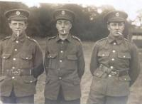 Postcard with left to right: Harold, Ernest and Tom - click for full size image
