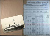 Ships Passenger List for Return from Canada on the RMS Alaunia in 1925 - click for full size image