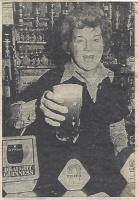 Mrs. Peggy Shuffe pulls a last pint (for the photographer) at the Joiner's Arms, Hampsthwaite, where she has been the licensee for 21 years. - click for full size image