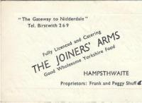 Joiners Arms Business Card - click for full size image